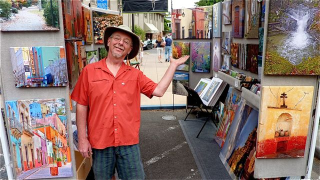 Pat Moore and his outdoor gallery of images can be seen most weekends at Lithia Artisans Market, along Ashland Creek, behind the plaza.