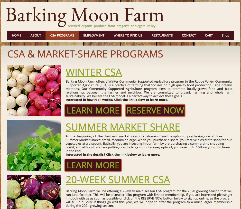 Photo of CSA PROGRAMS | barkingmoonfarm